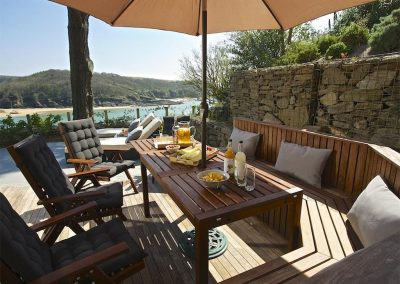 The outdoor patio at Woodwell, Salcombe